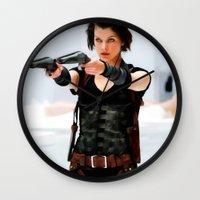 resident evil Wall Clocks featuring Milla Jovovich @ Resident Evil by Gabriel T Toro