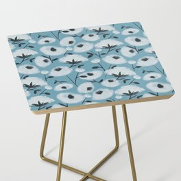 Cotton Flowers on Blue Pattern Side Table