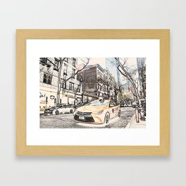 Taxi New York City Usa Street ArtWork Painting Framed Art Print