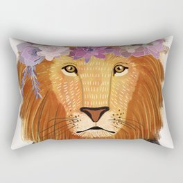 Lion with flowers on head Rectangular Pillow