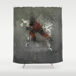 On Ice - Ice Hockey Player Modern Art Shower Curtain