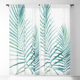 Twin Palm Fronds - Teal Blackout Curtain