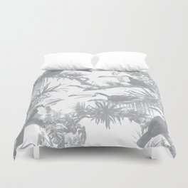 Toucans and Bromeliads - Sharkskin Grey Duvet Cover