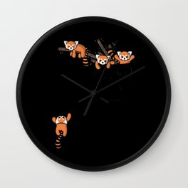 Pocket Red Panda Bears Wall Clock
