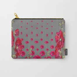 GREY RED-PINK HOLLYHOCK  LOVERS  PATTERN GARDEN Carry-All Pouch