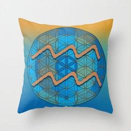 Flower of Life AQUARIUS Astrology Design Throw Pillow