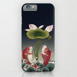 Jumping Carps and lotus D type: Minhwa-Korean traditional/folk art iPhone Case