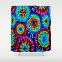 tie dye Shower Curtains featuring Tie Dye by gypsykissphotography