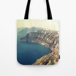 The insane roads of Santorini Tote Bag