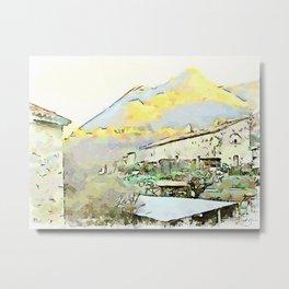Camerata Nuova: building and mountain Metal Print