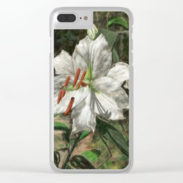 White Asiatic Lily Clear iPhone Case