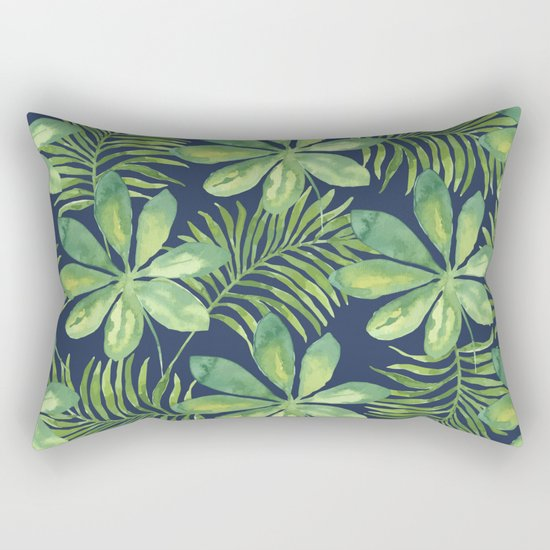 Tropical Branches Pattern on Dark 01 Rectangular Pillow
