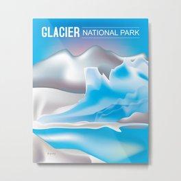 Glacier National Park, Montana - Skyline Illustration by Loose Petals Metal Print