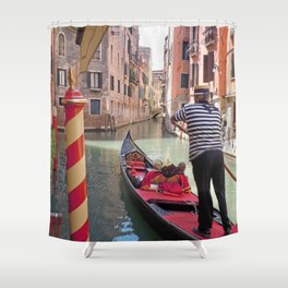 On the Canals in Venice Italy watching the Gondoliers Shower Curtain
