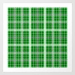 Christmas Green Tartan Plaid Check Art Print