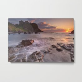 The Dunluce Castle in Northern Ireland at sunset Metal Print