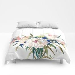 White Peonies, Asian Watercolor design Garden Peonies White lofral art Comforters