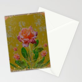 ANTIQUE AVOCADO COLOR  CORAL  PINK ROSES BOTANICAL ART Stationery Cards