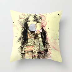 Bubble Gum Bandits Throw Pillow