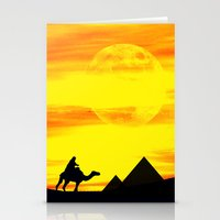 egyptian Stationery Cards featuring Egyptian supermoon by Pirmin Nohr