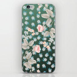 Green Flowers Pattern iPhone Skin