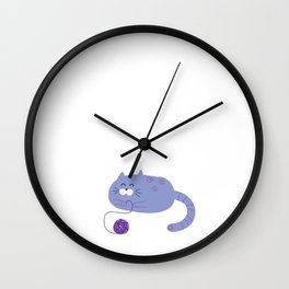 Purple Playful Cat Wall Clock