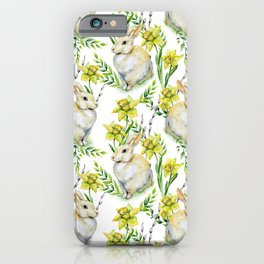 Spring yellow green watercolor daffodil rabbit pattern iPhone Case