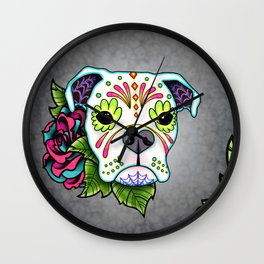 Boxer in White- Day of the Dead Sugar Skull Dog Wall Clock