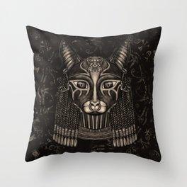 Bastet Egyptian Goddess - Sepia Throw Pillow