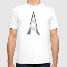 Eiffel Tower Mens Fitted Tee White MEDIUM
