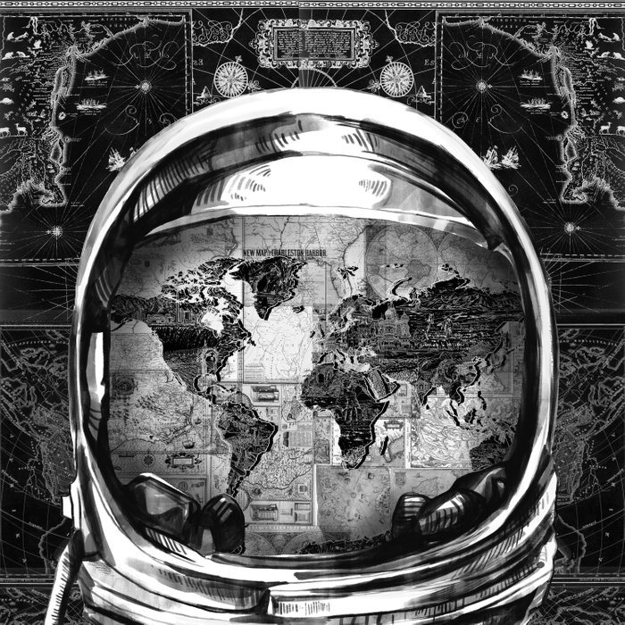 astronaut world map black and white 2 Comforters