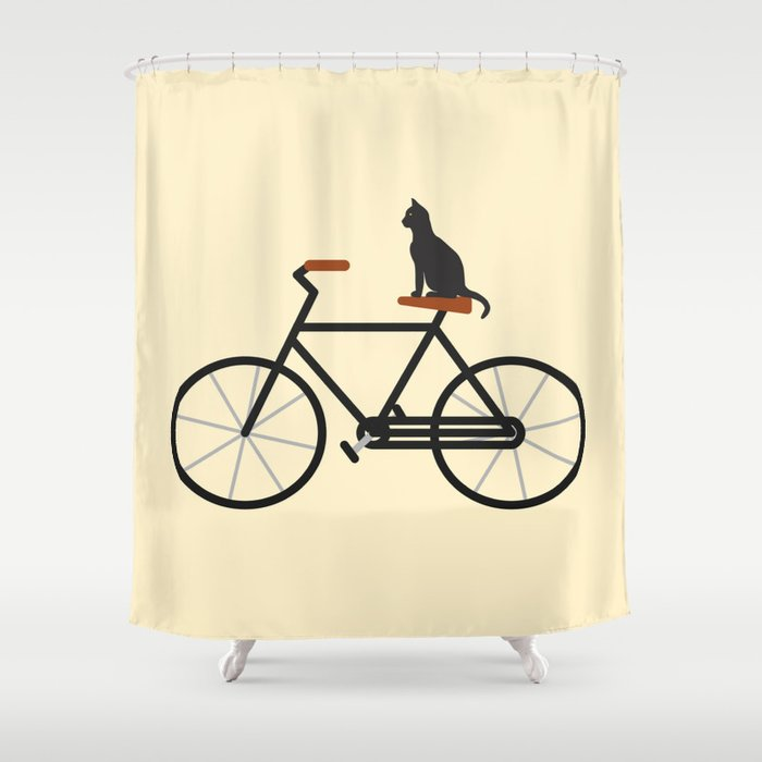 Cat Riding Bike Shower Curtain