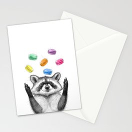 raccoon with cookies Stationery Cards