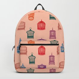 Bird Cages on an Orange Background Backpack