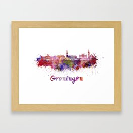 Groningen skyline in watercolor Framed Art Print