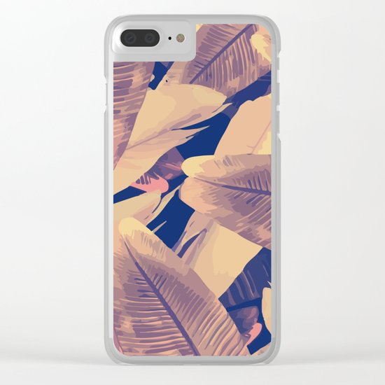 Banana Leaves Sepia Clear iPhone Case