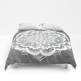 Pastel Floral Medallion on Faded Silver Wood Comforters