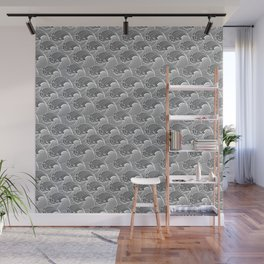 Vintage Japanese Waves, Gray / Grey and White Wall Mural