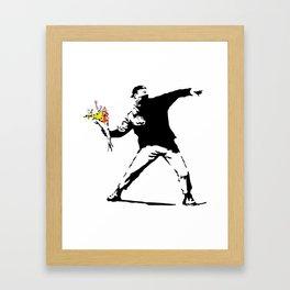 Banksy Flower Bomber Framed Art Print