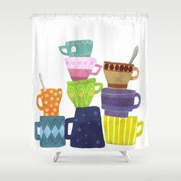 Coffee And Tea Cups And Mugs Stacked High Shower Curtain