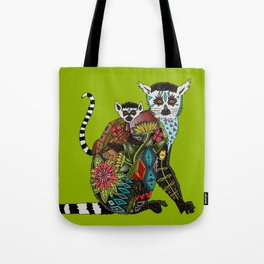 ring tailed lemur love lime Tote Bag