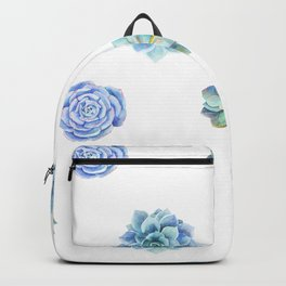 Bue and gren succulents pattern Backpack