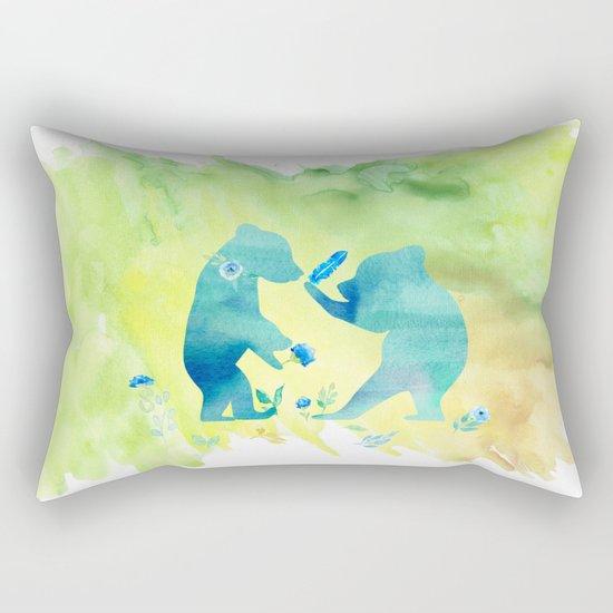 Playing bear kids - Animal Watercolor illustration Rectangular Pillow