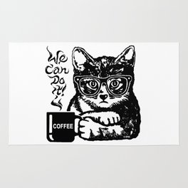 Funny cat motivated by coffee Rug