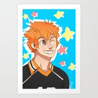 haikyuu Art Prints featuring Hinata Haikyuu!! by Dreki