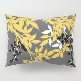 TREE BRANCHES YELLOW GRAY  AND BLACK LEAVES AND BERRIES Pillow Sham