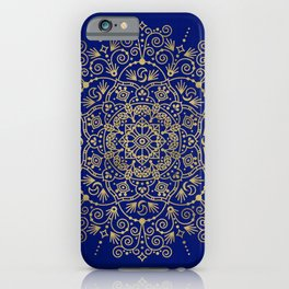 Moroccan Mandala – Gold Ink on Navy iPhone Case