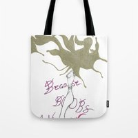 boobs Tote Bags featuring Because Boobs by Meagan Harman