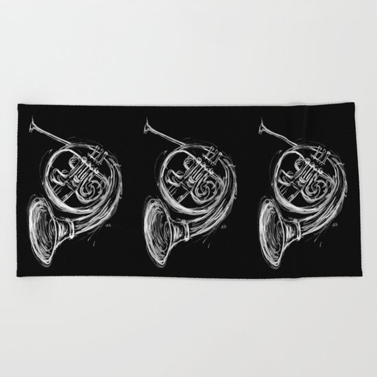 French Horn Beach Towel