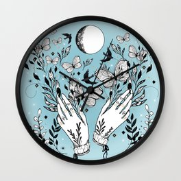 Full Moon Magic Of Nature With Blackbirds And Butterflies Wall Clock